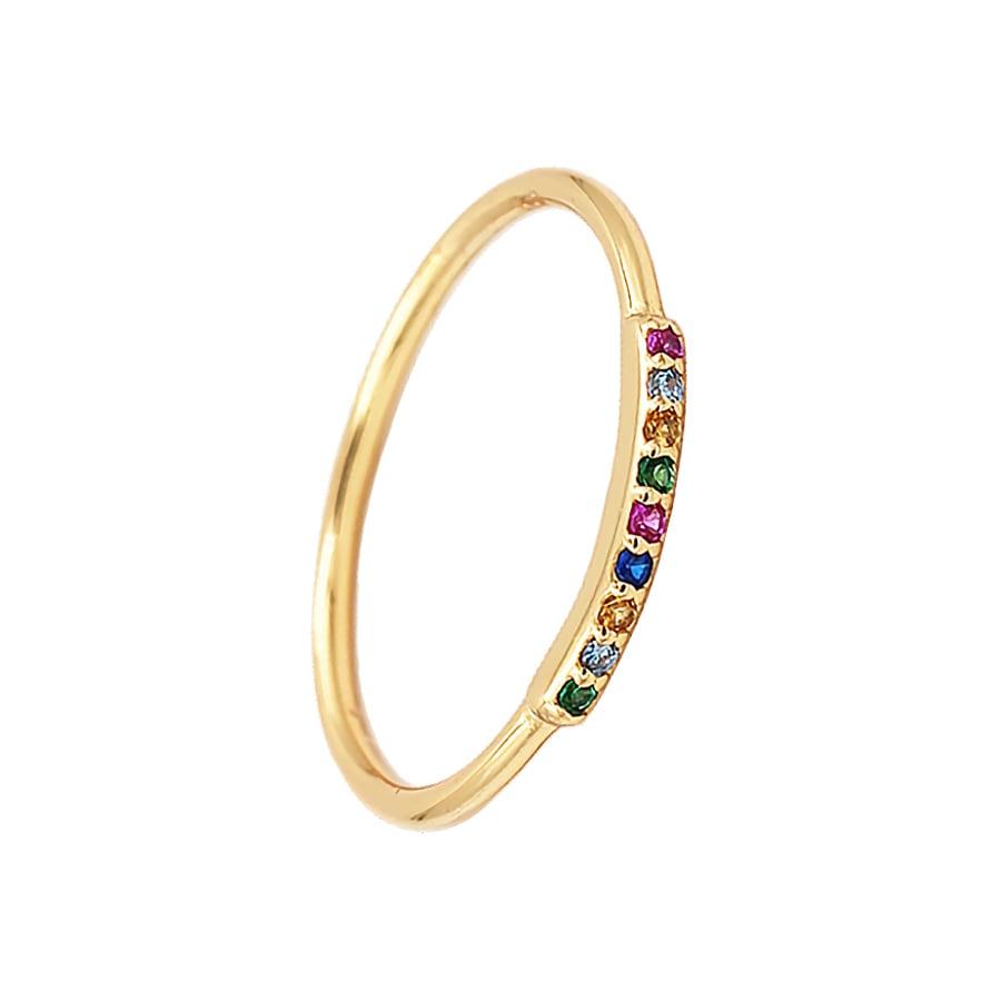 anillo fino con piedras de colores