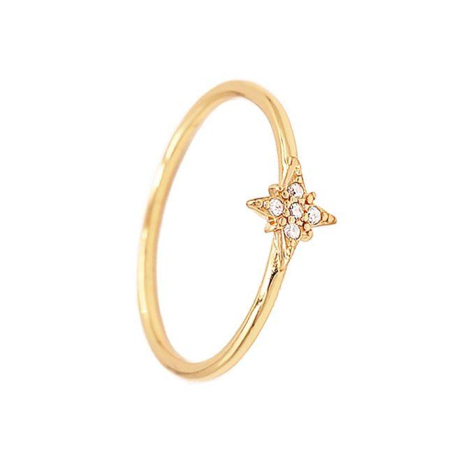 Anillo estrella polar oro