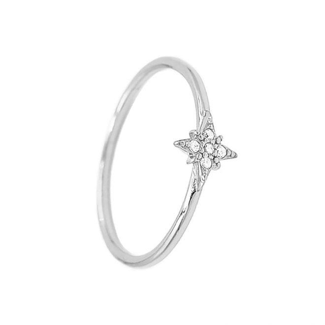 Anillo estrella polar o rosa de los vientos en plata