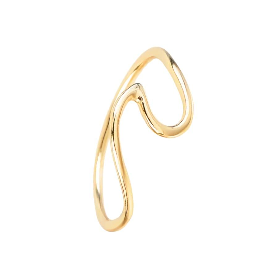 anillo ola en plata bañada en oro