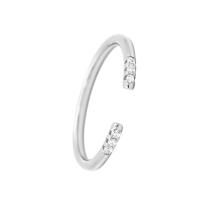 comprar anillo abierto de plata con circonitas