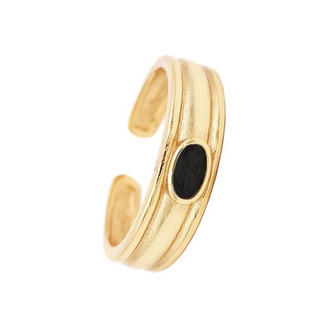 anillo ancho ajustable con piedra negra