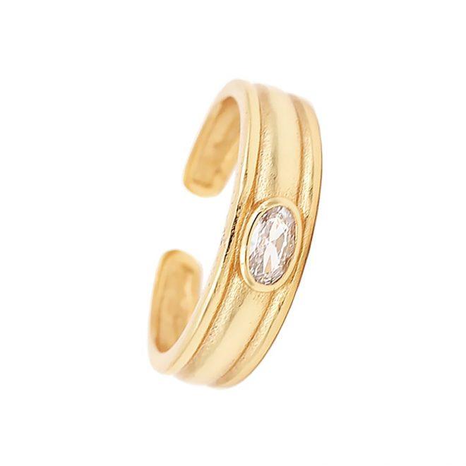 anillo ancho con piedra blanca