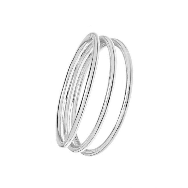 comprar anillo fino con efecto triple en plata de ley