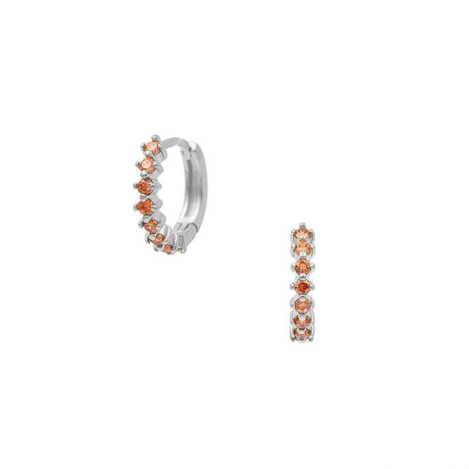 aritos de plata con piedras color caramelo