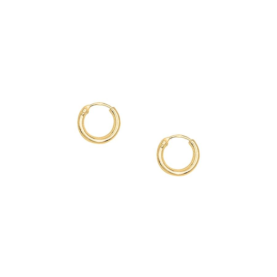 Pendientes de aro mini en plata bañados en oro de 8mm