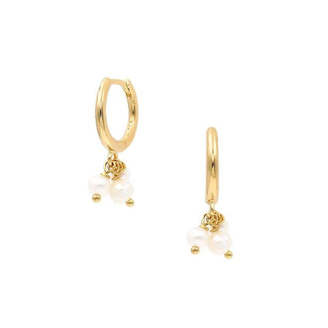 comprar aros con perlas de plata bañada en oro