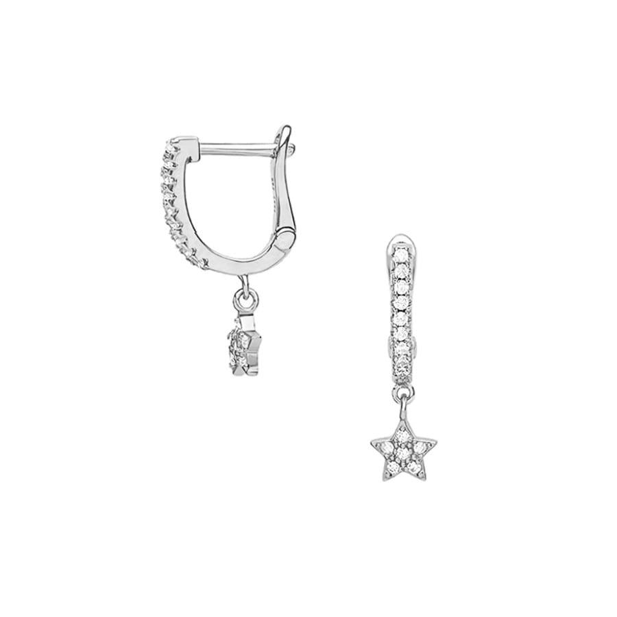 comprar aros de plata con estrella de cristales