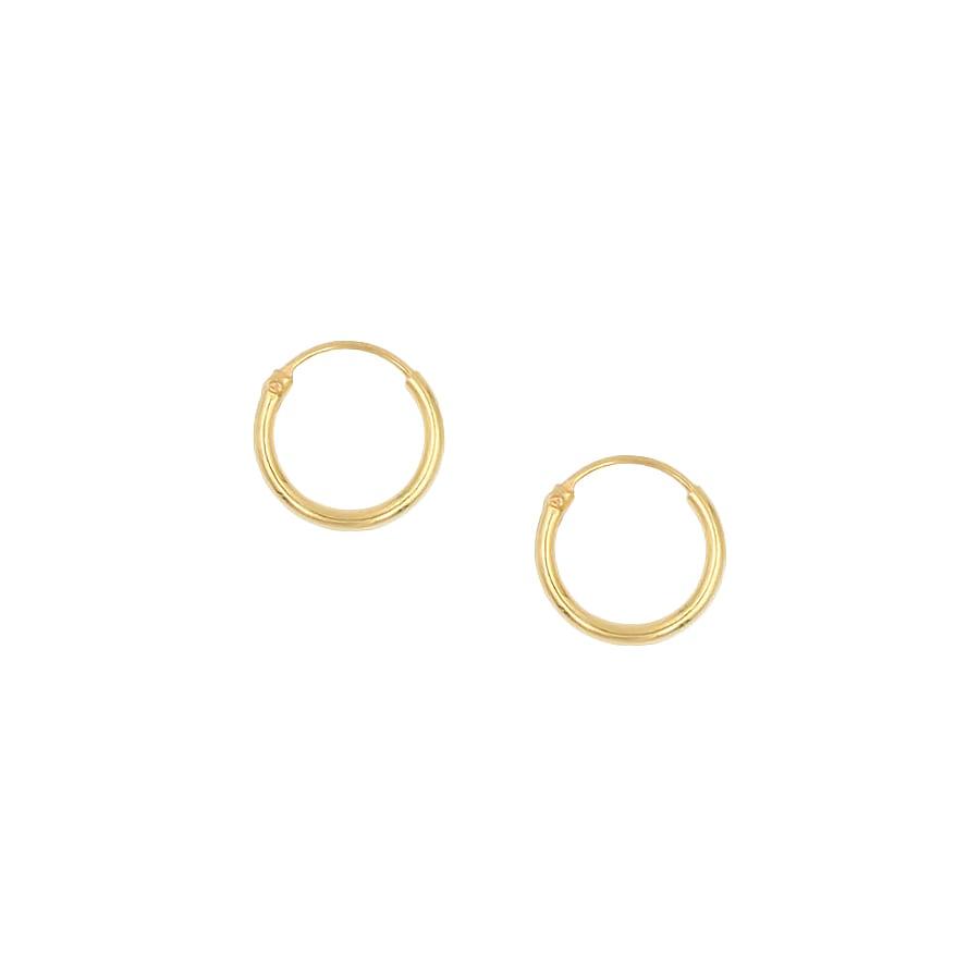 aro de plata con baño de oro, diseño en dorado de 10mm