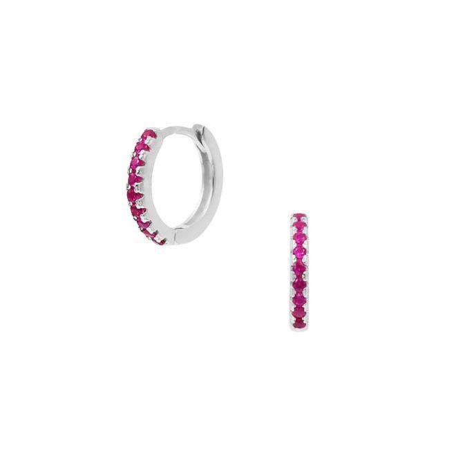 aros de plata con circonitas de color rosa