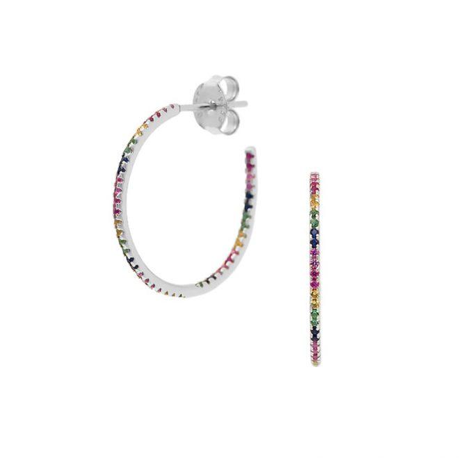 comprar aros rainbow de colores en plata