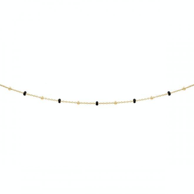 comprar collar cadena con bolitas negras y bañado en oro