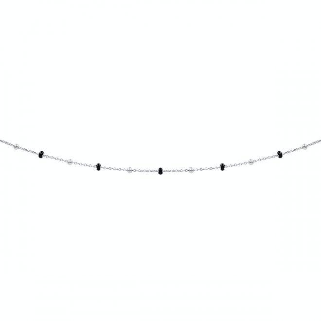 comprar collar cadena bolitas en plata con piedras negras