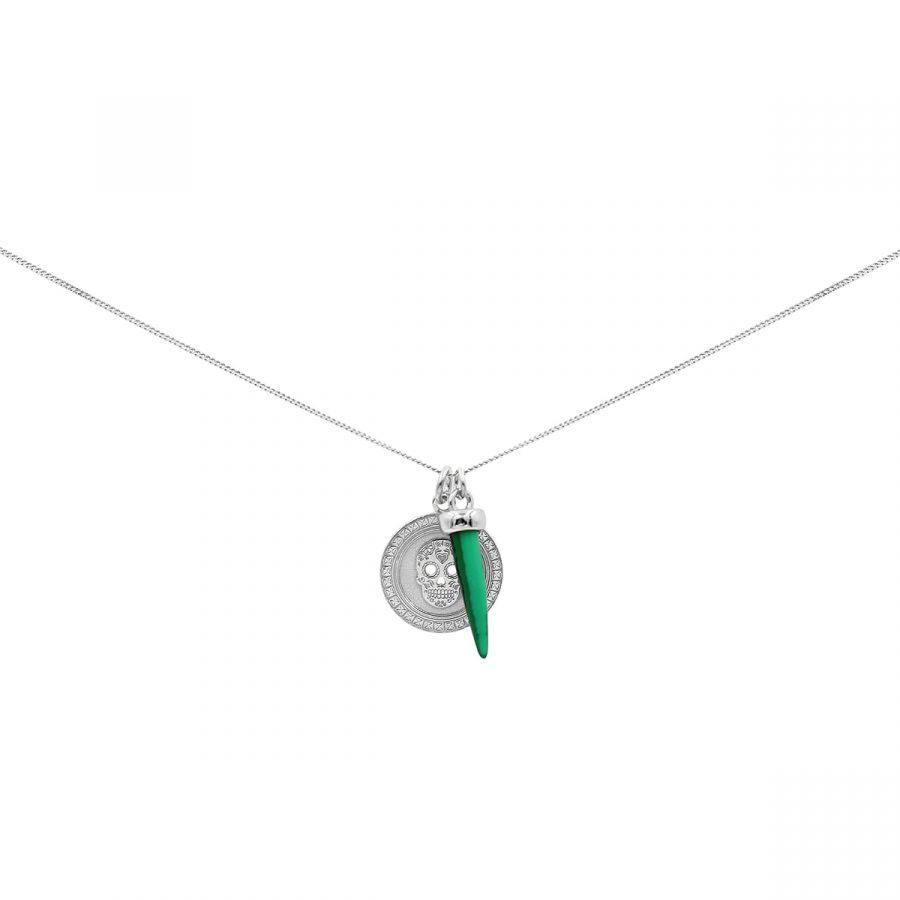 comprar colgante de medalla más cuerno piedra verde de plata