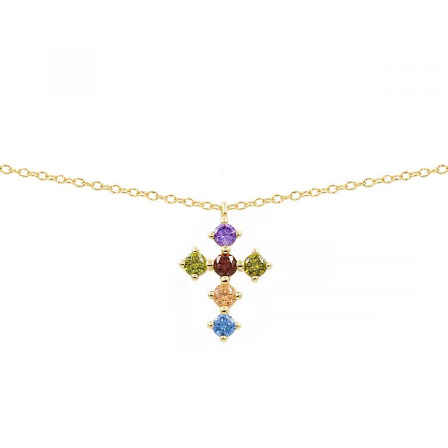Colgante cruz con cristales de colores