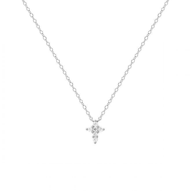 collar con colgante cruz en plata