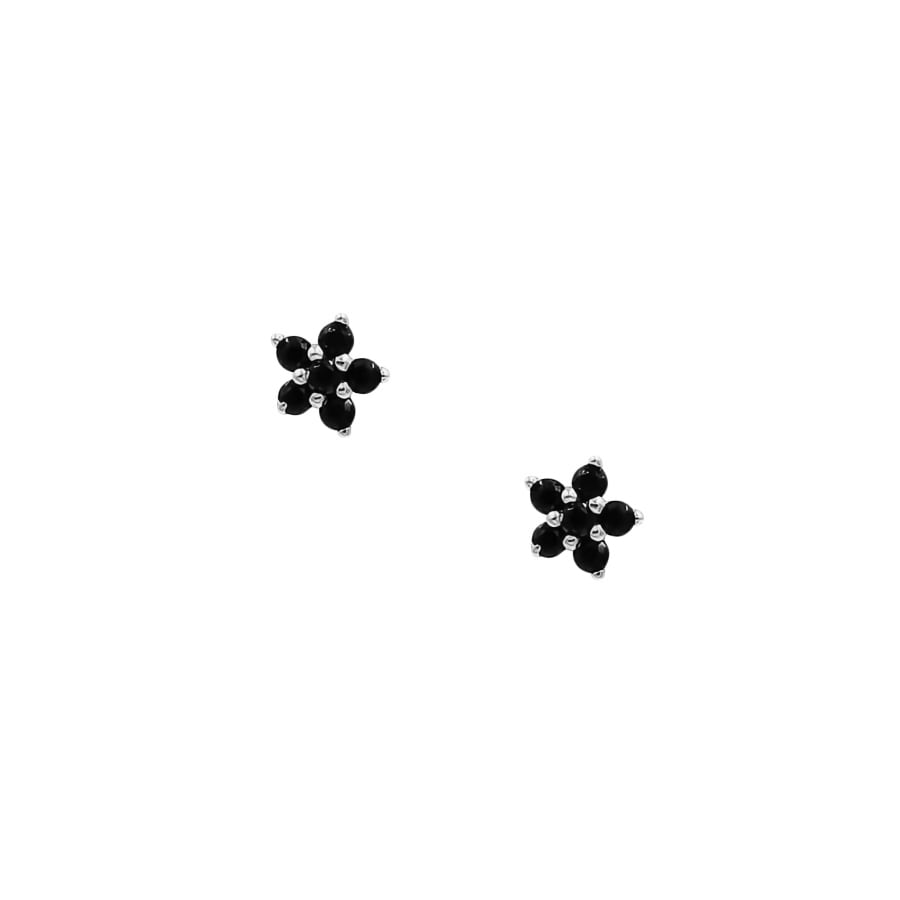comprar pendientes mini flor con piedras negras