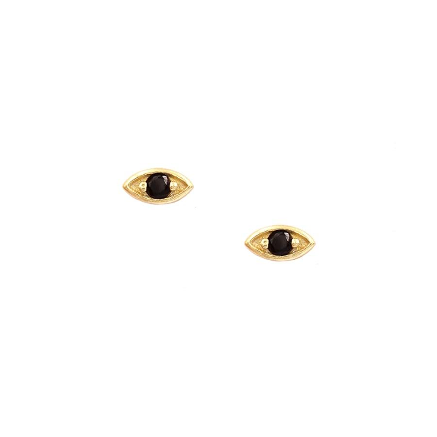Pendientes mini ojo con circonita negra en dorado