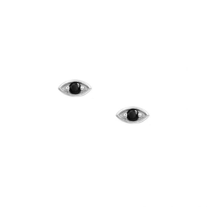 Pendientes mini en forma de ojo con circonita negra