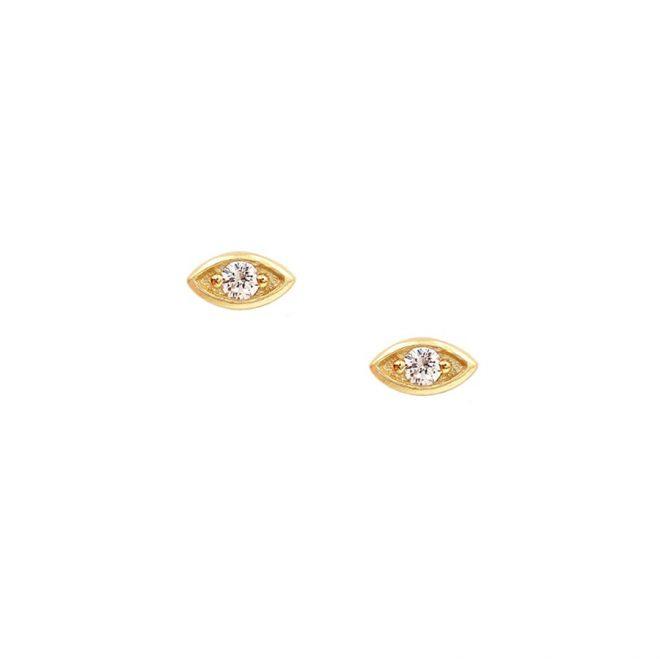 Pendientes en forma de ojo estilo botón con diseño de circonita blanca