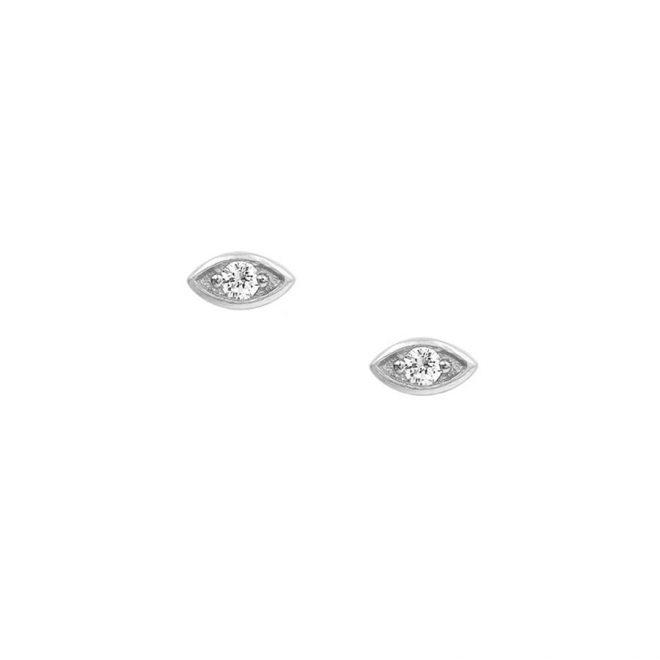 Pendientes mini ojo con circonita blanca en plata de ley