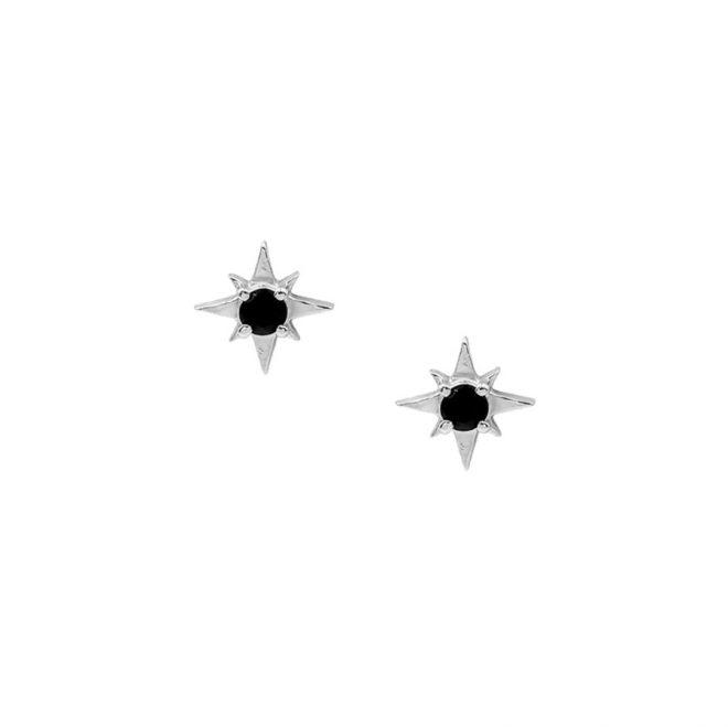 comprar pendientes estrella polar con circonita negra en plata