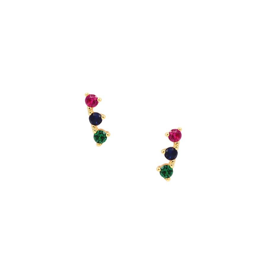 comprar pendientes con tres circonitas de colores