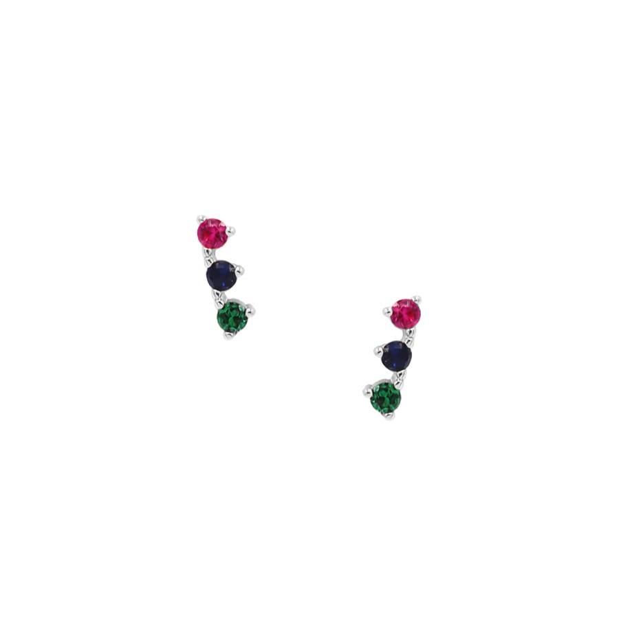 comprar pendientes de tres piedras multicolor