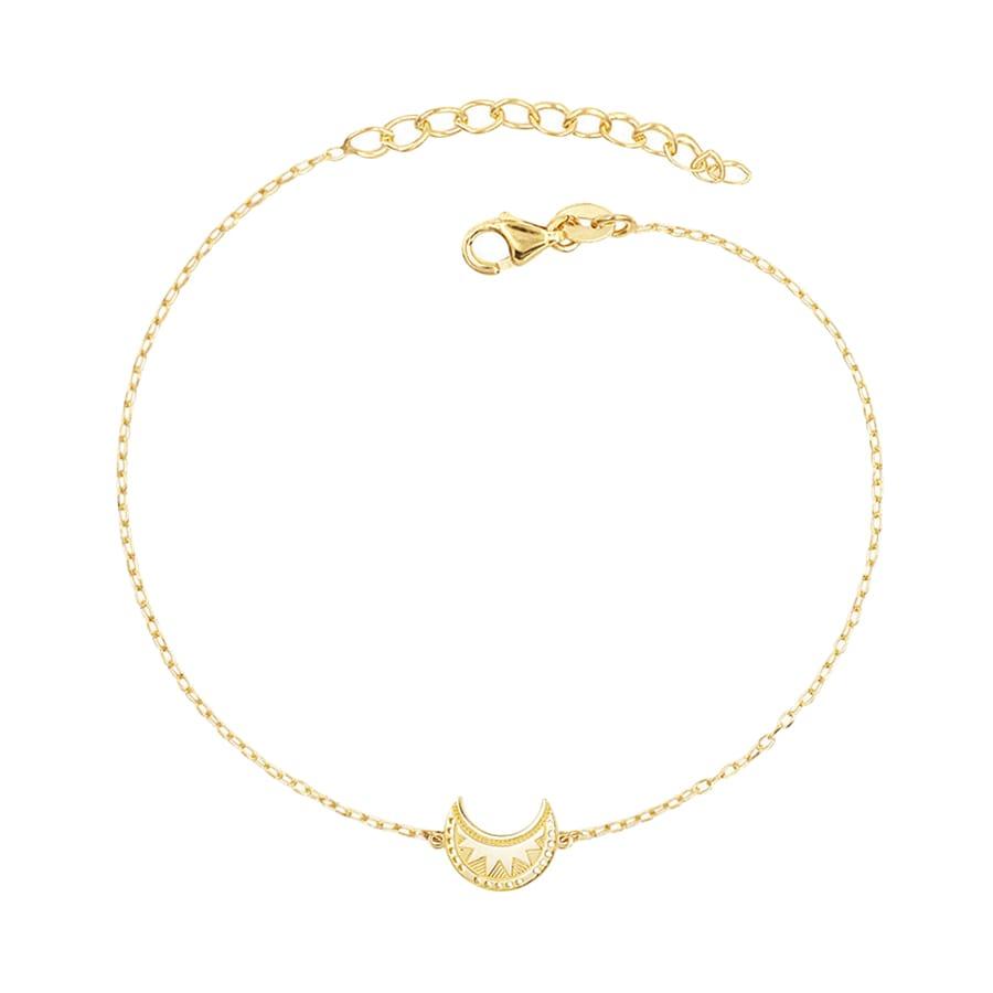 Pulsera luna con diseño tribal o étnico en plata bañada en oro
