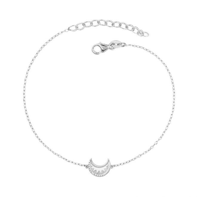 Pulsera en plata de ley con pequeña luna con diseño tribal