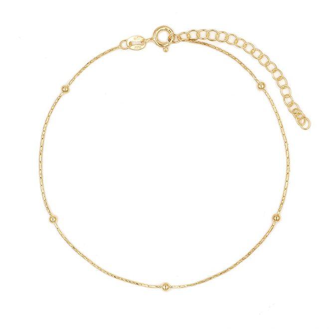 Tobillera finita estilo minimalista bañada en oro amarillo