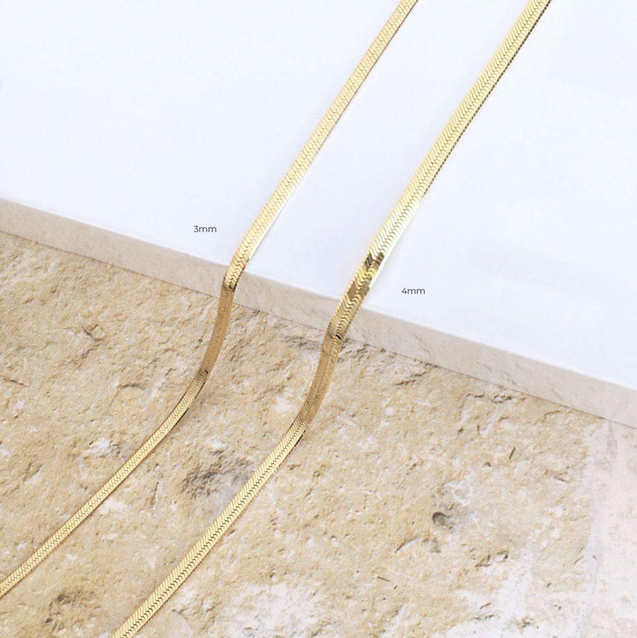 Collar Snake de 3mm o 4mm en baño de oro