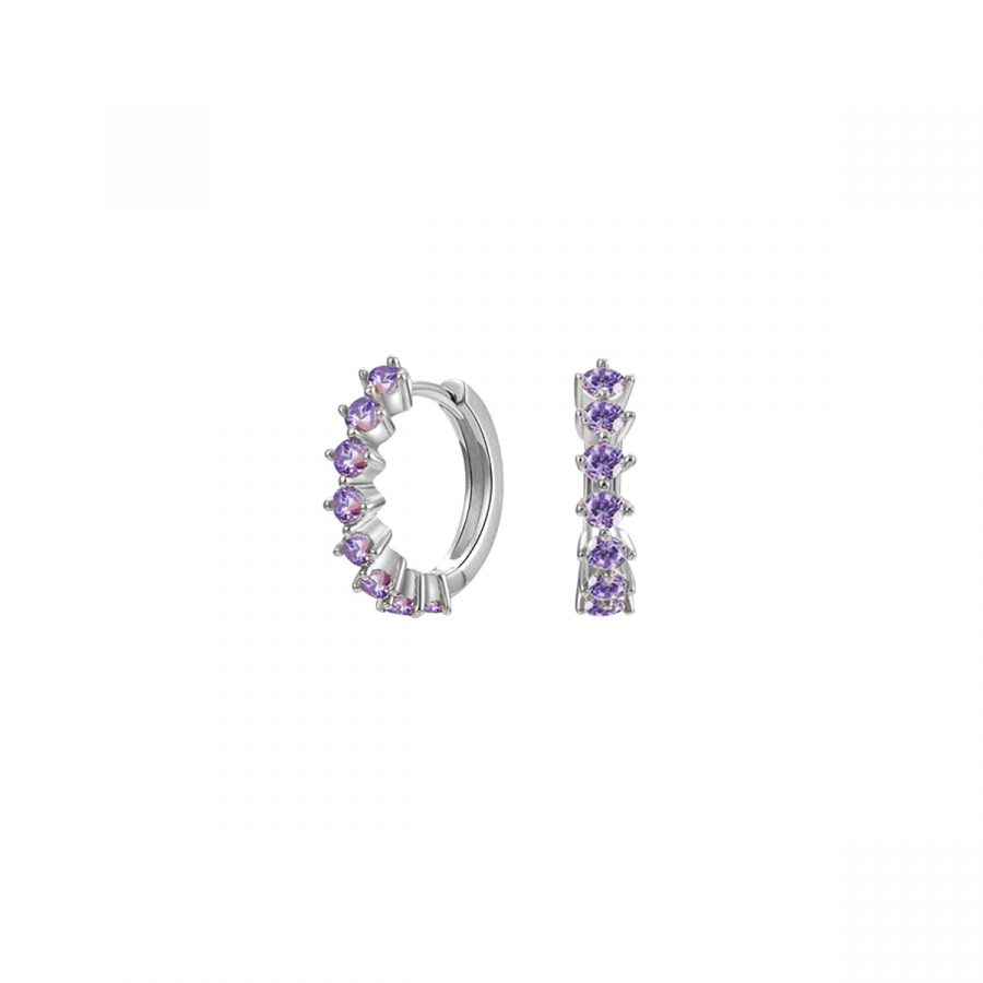 Aros con circonitas lila en plata