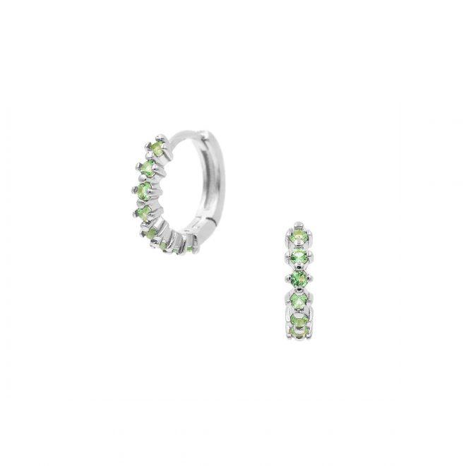 Aritos con piedras verde menta