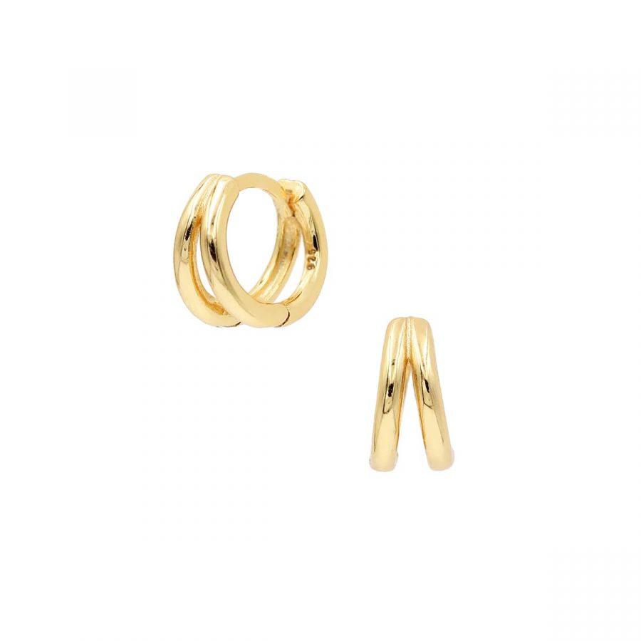 Pendientes de aro dobles en baño de oro
