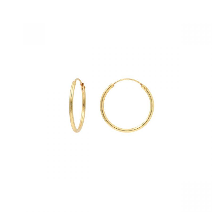 Aros finos de oro de diámetro 20mm