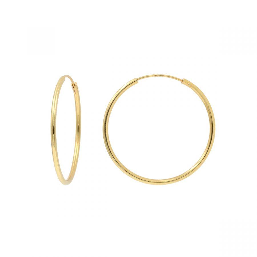 Aros finos de oro de diámetro 30mm