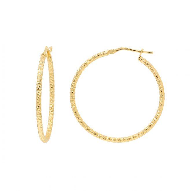Aros grandes con diseño de diamentes en oro vermeil