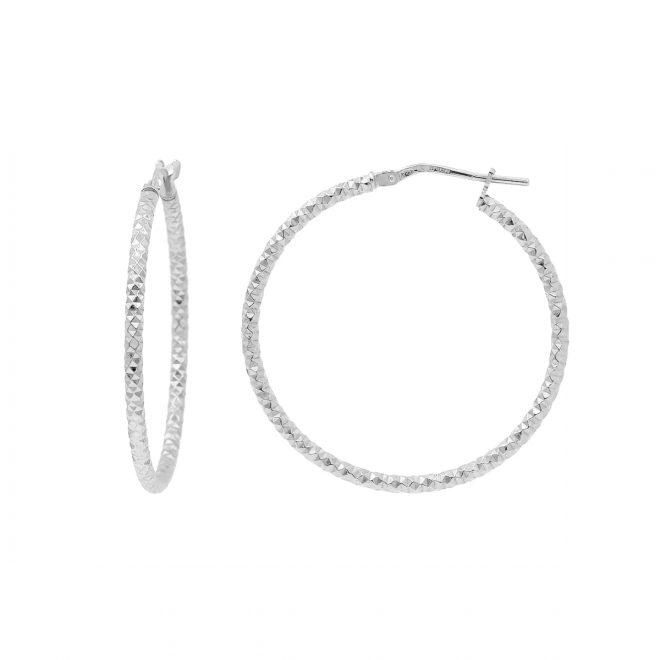Aros grandes en plata de ley con diseño diamantado