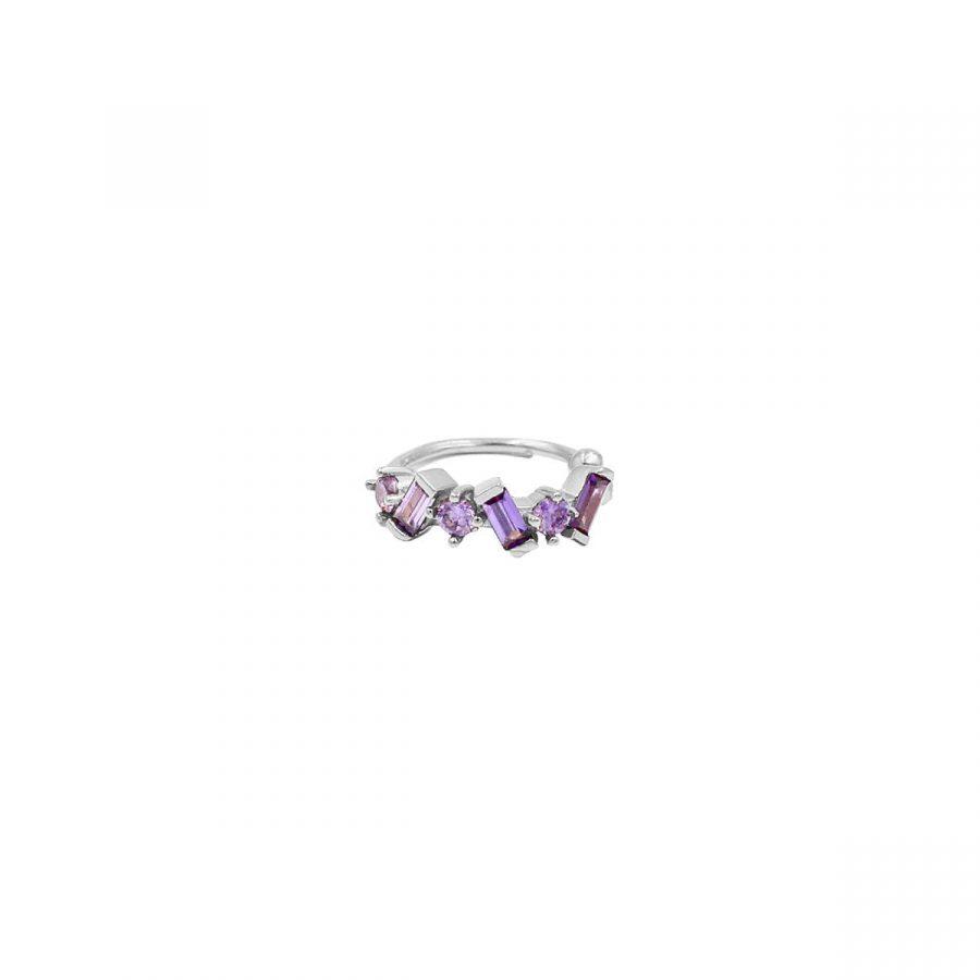 Cartílago con piedras lila en plata