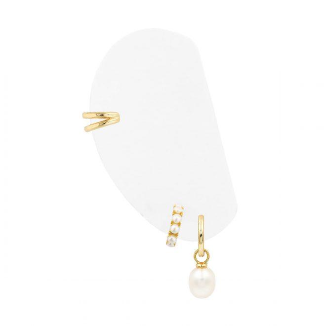 Combinación de pendientes de perlas cultivadas