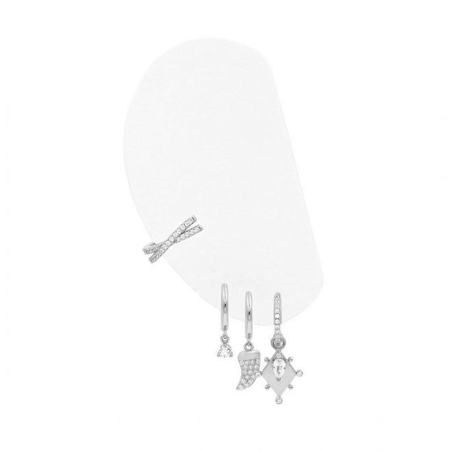 Combinación de pendientes de plata con circonitas blancas