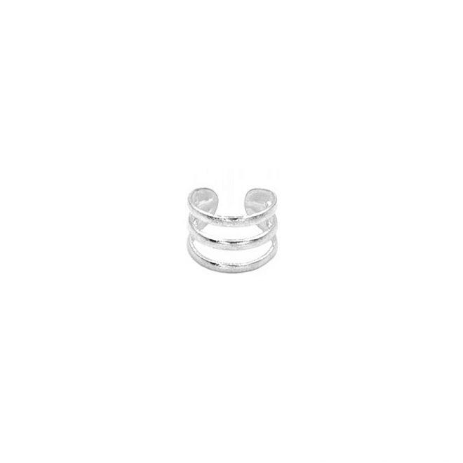 Pendiente de tres aros para el cartílago sin agujero en plata