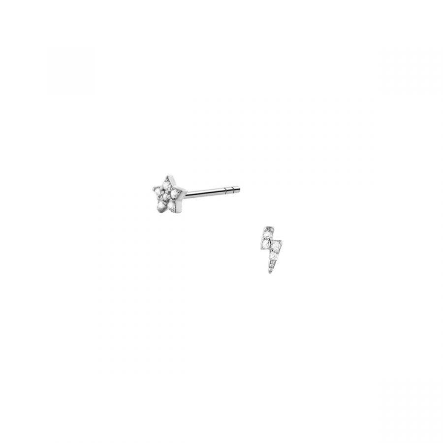 Pendientes Dúo Mini de Estrella y Rayo en Plata de Ley