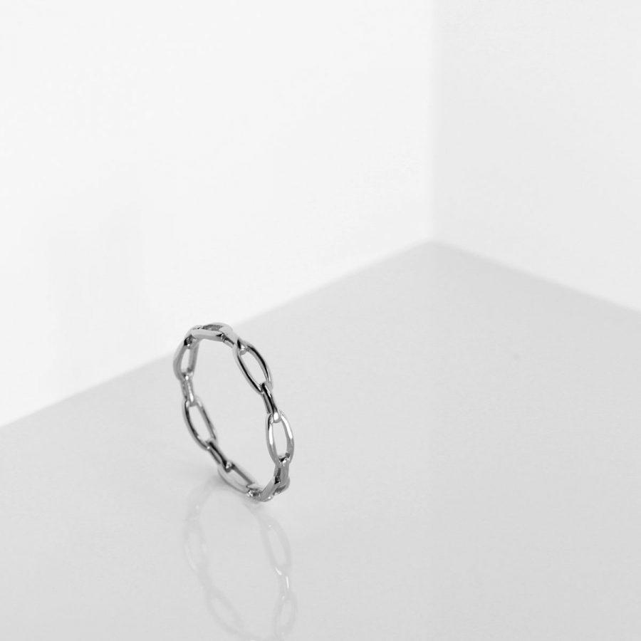 anillo de cadena en plata