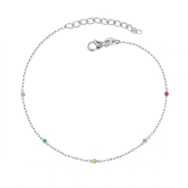 Pulsera de Cristales de Colores en Plata