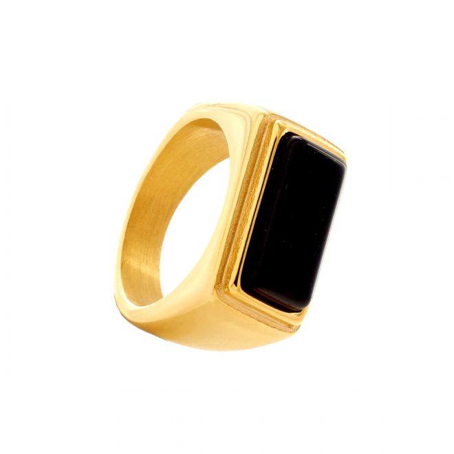 anillo piedra negra estilo sello