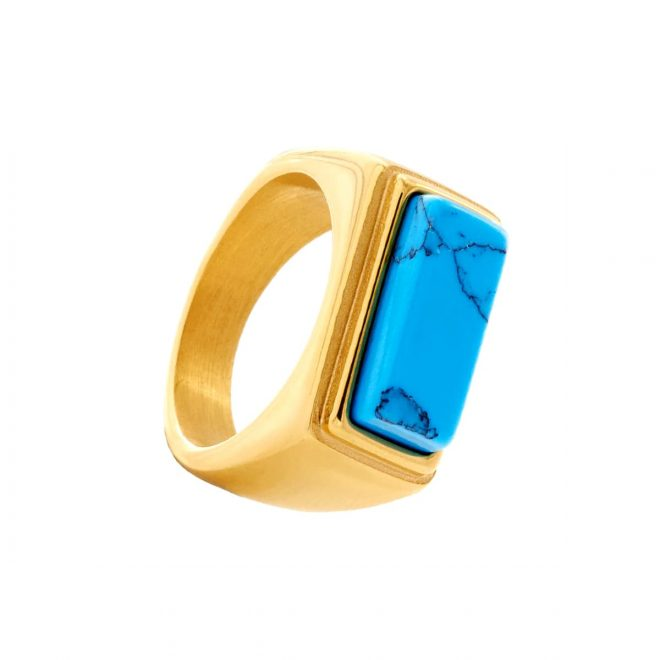 anillo ancho con piedra turquesa estilo sello