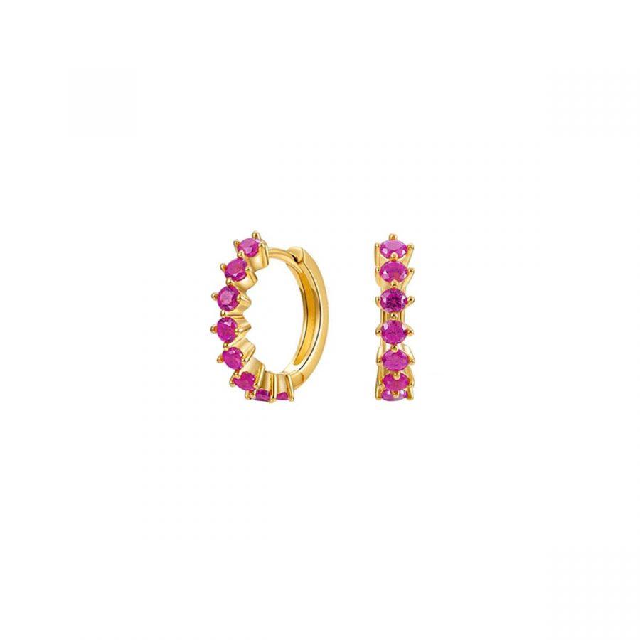 Aros con cristales rosas