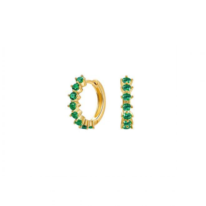 Aros con cristales verdes